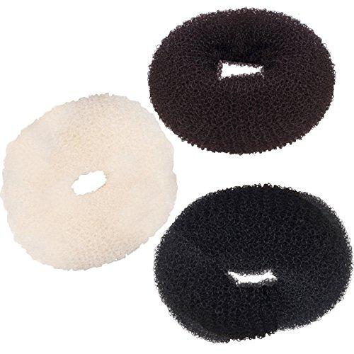3 Stück Duttkissen Haarknoten Haarschmuck Knotenrolle Haardutt Donut Knotenkissen Dutt (schwarz)