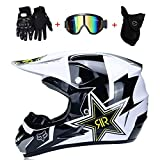 WanSheng Motocicletta Motocross Caschi & Guanti E Occhiali D.O.T Standard Bambini Quad Bike ATV Go Karting Casco Rock Star,XL61~62CM
