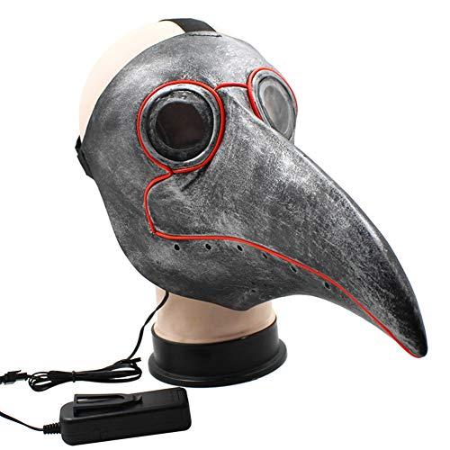 Weiweiba Pest Arzt Maske Halloween Maske LED Cosplay Requisiten Steampunk Vogel Maske Kostüm für Erwachsene (Iron Mann Kostüm Leuchten)