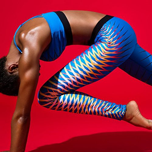 Bigood Imprimé Pantalon Slim Yoga Course Sport Legging pour Femme Bleu
