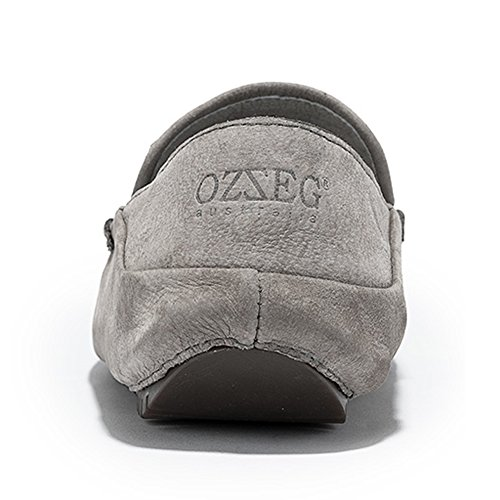OZZEG  Fashion Leather Loafers, Moccasin garçon homme Gris