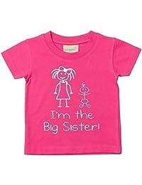 De la a lo grande texto en inglés con inscripción sobre hermana color rosa niños del bebé cable USB de carga y-camiseta de manga corta de…