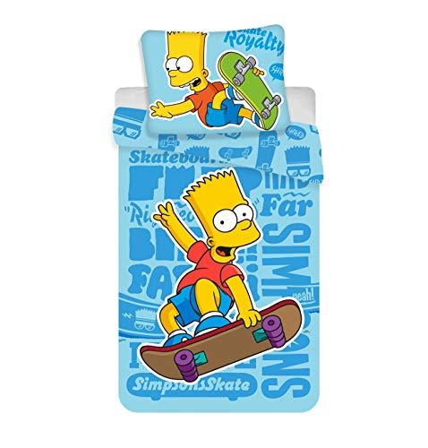 Simpsons Bart Skate Bettwäsche, Bettbezug für Einzelbett, 100% Baumwolle (Bettwäsche Simpsons)