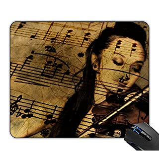 artsy violin music 24x20x0.2 cm Mouse pad gaming mouse mat gel rubber for PC, computer and laptop, Smooth Surface and Non-Slip Rubber Base.