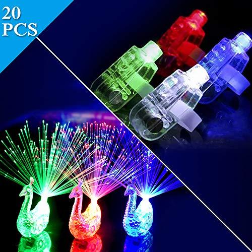 TBoonor Finger Licht 20 Pcs Pfau Licht Super helle LED Finger Licht Pfau Licht für Musikfestival, Täntze, Karneval, Halloween, Weihnachten (Mischfarbe) (20 PCS)
