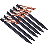 6pcs 18cm 700I Aluminium Alloy Tent Peg Nail Stake with Rope Camping Equipment Outdoor Beach Black