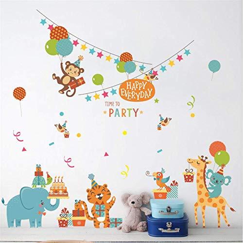 n Glücklich Tier Party Wandaufkleber Kindergarten Kinderzimmer Baby Schlafzimmer Diy Abnehmbare Wallsticker Wandbilder 80X65 Cm ()