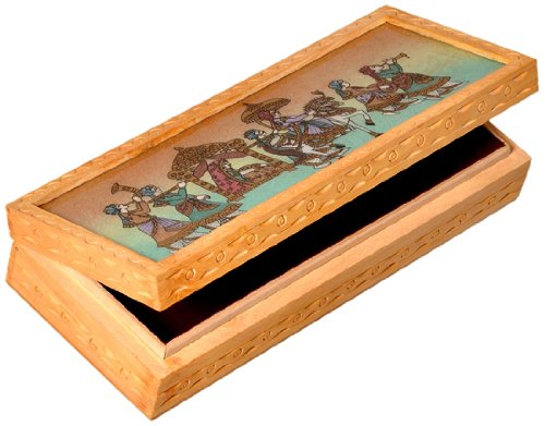 Little India intagliato in legno dipinto Gemstone Jewellery Box 10.16 cm x 25.4 cm marrone