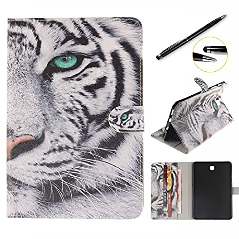 Lotuslnn, Galaxy Tab S2 9.7 Tablette Coque, Supporter Flip PU Cuir Pochette Portefeuille Housse Coque Etui pour Samsung Galaxy Tab S2 9.7 pouces SM - T810 / SM - T815 - tigre blanc