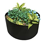 JYCRA Stoff Hochbeet, 100/150L rund Bepflanzen Container Grow Bag Bepflanzungssystem Topf für Pflanzen, Blumen Gemüse, Textil, Schwarz, Dia 46 x H 22inch