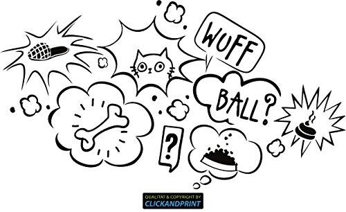 CLICKANDPRINT Aufkleber » Gedanken deines Hundes, 80x43,6cm, Schwarz • Dekoaufkleber / Autoaufkleber / Sticker / Decal / Vinyl