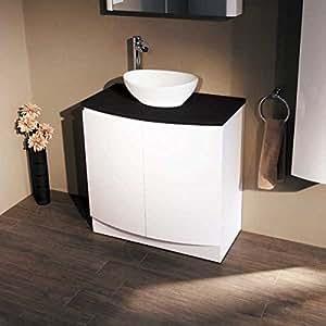 Bateau 800Meuble lavabo avec lavabo pour salle de bain bain Lavabo–Fermeture douce Luxe Nœud Blanc Avant Noir Design–Comptoir moderne–Lavage à la main–Évier profond pour placard de rangement avec étagère interne–Finition brillante dimensions (* * * * * * * * * * * * * * * * Meubles Armoire–Hauteur: 825mm, largeur: 810mm, Projection: 470mm * * * * * * * * * * * * * * * * lavabo hauteur: 148mm, profondeur: 337mm, largeur: 406mm)