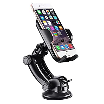 Phone Holder, Mpow Grip Pro 2 Windscreen Car Phone Holder Universal Car Cradle Adjustable Windshield Car Mount Holder with Strong Sticky Gel Pad for iPhone 7 7 Plus 6 6s Plus 5 SE Samsung Galaxy S7 S6 S5 Note 5 4 3 HTC LG Huawei and others