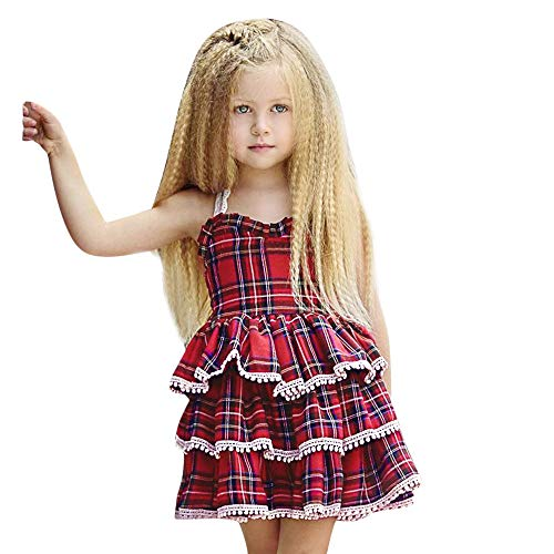 PLOT Baby Girls Dresses Sleeveless Straps Plaid Princess Dress Clothes Outfit 1-4T