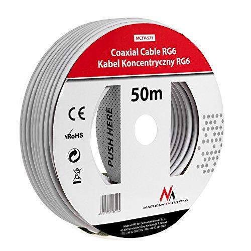 Foto de Maclean MCTV-571 SAT-Antennenkabel 50m de los cables coaxiales RG6 1.0CSS TV por cable