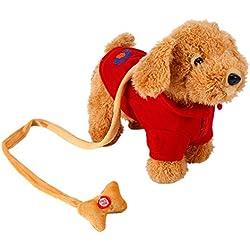 Perro Mascota Electrónica Canto Caminar Musical Robot Electrónica Perro Juguetes Para Niño Bebé (Rojo)
