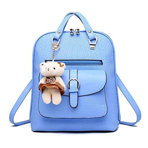 Saint Kaiko PU Leder Wanderrucksäcke Schulrucksäcke Rucksäcke Schulranzen Jungen Schulrucksäcke Jungen Schultasche Zum Reisen oder zur Schule Gehen (schwarz) hell blau