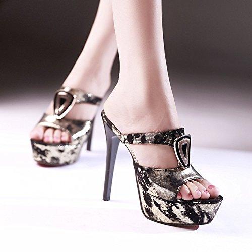 Donne tacchi alti fini con sandali e ciabatte donne dei sandali calza i sandali sexy di estate di altezza con singolo Gold
