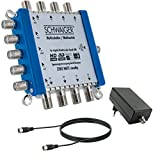 SCHWAIGER -5200- Multischalter 5 -> 8 / Verteilt 1 SAT-Signal auf 8 Teilnehmer / SAT-Splitter mit externem Netzteil / digital Multiswitch für Signal-Verteilung / in Kombination mit einem Quattro LNB