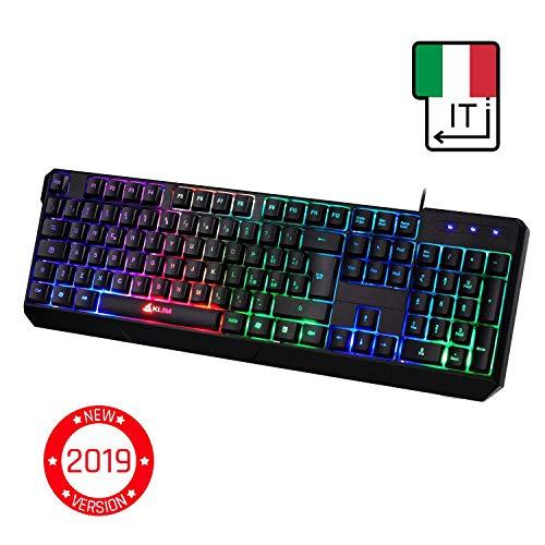 ⭐️KLIM Chroma Tastiera ITALIANA per Gaming USB - Alte Performance – Colori da Videogioco e Retroilluminata – Tastiera da Gioco – Tastiera per Videogame, PC PS4 Windows, Mac - Nuova 2019 Versione