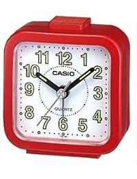 Casio TQ-141-4EF - Reloj despertador analógico, esfera blanca, color rojo