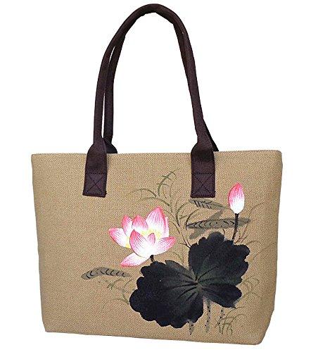 Aiffer Frauen Handgemalt Retro Sonnenblumen Lotus Tragetasche Persönlichkeit  Aquarell Freizeit Leinen Totes Schulter . Tinte und Wasser