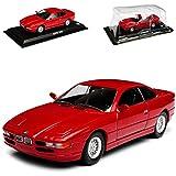 BMW 8er 850 i E31 Rot Coupe 1989-1999 1/43 Modellcarsonline Modell Auto mit individiuellem Wunschkennzeichen