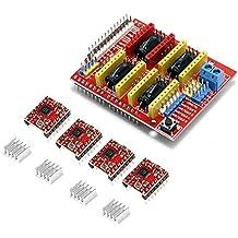 kookye CNC Shield Expansion Board + Uno R3junta + A4988controlador de motor paso a paso con disipador de calor Kit para impresora 3d