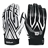 Best Football Gloves For Receivers - Wilson Clutch American Football Receiver Gloves (White, M) Review