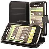 ECENCE Samsung Galaxy S GT-i9000 S Plus i9001 Coque de protection Housse Pochette wallet Case noir + protection d'écran 13010202