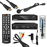 Edision Kabelreceiver FullHD Hybrid DVB-C für digitales Kabelfernsehen Komplettset inkl. Kabelabel HDMI Kabel