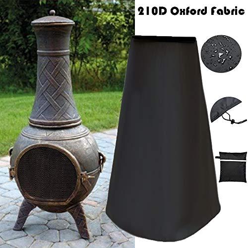 Housse de cheminée d'extérieur imperméable 210D Oxford résistant pour Le Chauffage de Jardin Protection UV Grand Foyer Noir