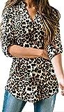 Damen Freizeit Lange Ärmel V-Ausschnitt Blumen Bluse Elegante Frauen Tunika Oberteile Vintage Hemd T-Shirt (Leopard, M/EU 40-42)