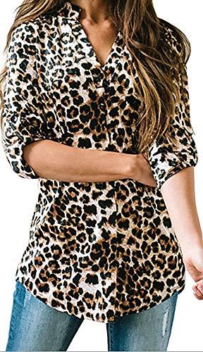 Damen Freizeit Lange Ärmel V-Ausschnitt Blumen Bluse Elegante Frauen Tunika Oberteile Vintage Hemd T-Shirt (Leopard, XXL/EU 46-48)