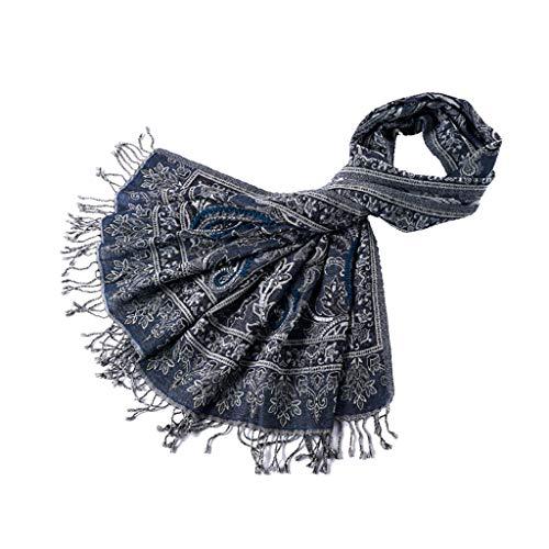 Sciarpa di vento indiano fatto a mano all'uncinetto scialle di perline scialle di lana sciarpa di lana cotta sciarpa autunno e inverno di spessore caldo nazionale (color : blue, size : 180 * 70cm)