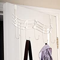 6SHINE Door Back Metal Music Notes Wall Hooks Kitchen Bathroom Organizer Hanger Hooks With 5-Hook Move on Vintage Coat Hat Bag Hanger Organizer Holder Wall Decor(BlackBlack)
