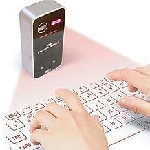 Highdas Proyección láser inalámbrico Bluetooth teclado virtual con el ratón para Iphone Ipad Smartphone PC y tabletas Negro A