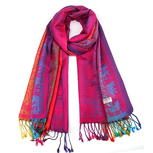 KPILP Lady Women Heißer Deckenschal Rainbow Gradient Doppelseitiger Elefant Nationalen Stil Kopftücher Winter Herbst Umhang Pashminas