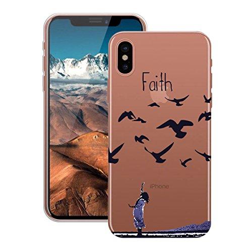 HB-Int Hülle für iPhone X Schutzhülle Transparent mit Plum Blumen Muster Etui Silikon Handyhülle Flexible Slim Case Cover Ultra Dünn Durchsichtige Handytasche Gänse Faith