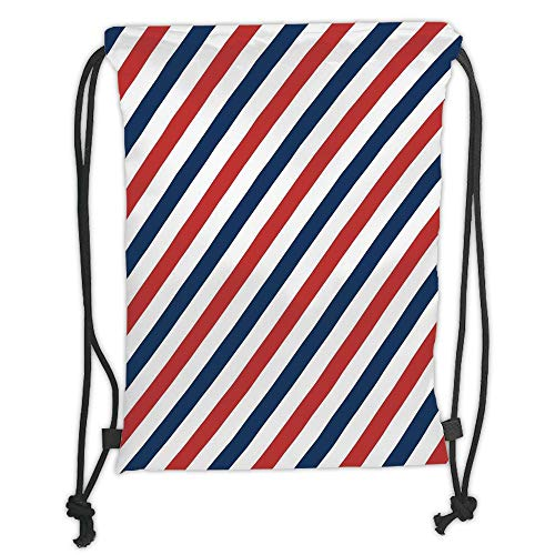 Drawstring Backpacks Bags, Harbor Stripe, Vintage Barber Pole Helix of Colored Stripes Medieval Contrast Design Decorative, Blue Red White Soft Satin, 5 Liter Capacity, Adjustable STRI