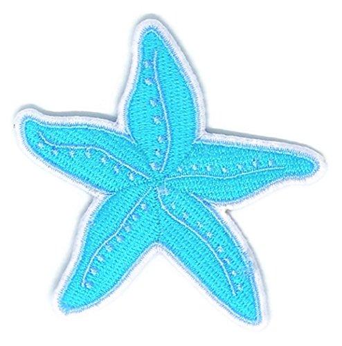 Blau Seestern Sea Animal Cartoon bestickt Nähen Eisen auf Patch Cartoon Nähen Eisen auf bestickte Applikation Craft handgefertigt Baby Kid Girl Frauen Tücher DIY Kostüm Zubehör