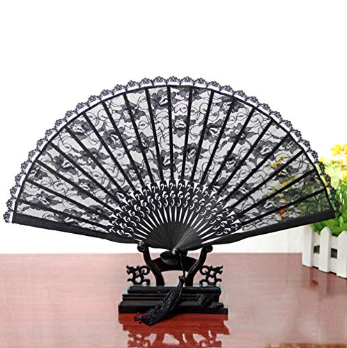 Halloween Vintage Lace Fan Falten Handheld Fan Prom Partydekorationen,Black (Kleines Black Box Kostüm)