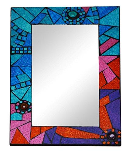 Piquaboo Large Geometric Mosaic Wall Mirror 40x30 cm (Multicolour)