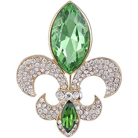 Ever Faith - Oro-Tono Cristal Austriaco Elegante Fleur-de-lis Flores Gotas de Lágrimas Broche Manzana Verde N04482-4