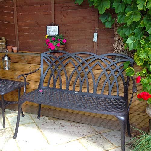 Lazy Susan – CLAIRE Rechteckiger Garten Beistelltisch mit 1 APRIL Gartenbank und 2 APRIL Stühlen – Gartenmöbel Set aus Metall, Antik Bronze - 4