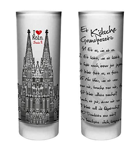 6 Köln-geschenk-set (Köln Schnapsgläser   6er Set   Gläser mit Gravur vom Kölschen Grundgesetz   Pinnchen bzw. Shotgläser für z.B Obstler, Tequila und Wodka.   Glas 6,5cl   Spülmaschinenfest   MADE IN GERMANY)