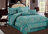 Oxford Homeware Elegant Luxurious 7 Piece highest quality Jacquard Quilted Bedspread ( Ruby / King / Teal ) outstanding softness and smoothness as well as long lasting durability Comforter Sets Bedding Sets and Matching Curtains are Available