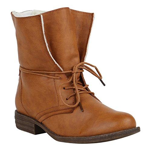 Stiefelparadies Damen Stiefeletten Warm Gefütterte Stiefel Schnürstiefeletten 151515 Hellbraun Arriate 39 Flandell