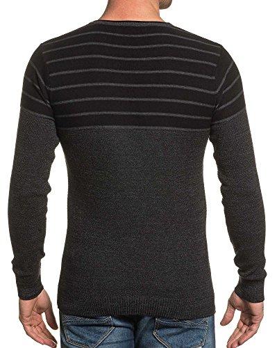 BLZ jeans - Pull homme noir et gris à rayures Noir