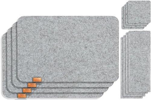 Miqio® - Design 12 teiliges Premium Platzset - Filz und Leder - für 4 Personen, waschbar, je 4 Tischsets, Glas-Untersetzer, Bestecktaschen (Graumeliert)
